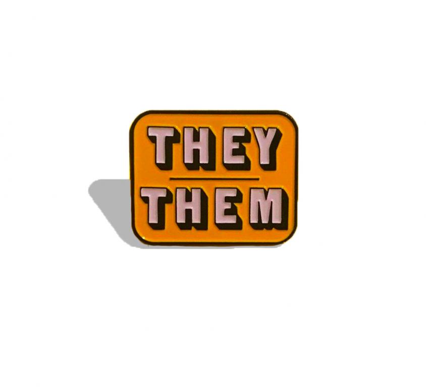 PINS -THEY/THEM jaune